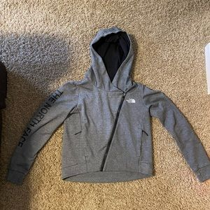 North Face asymmetric zippered gray hoodie size S